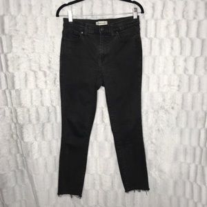 Madewell High Riser Skinny Jeans Black Raw Hem